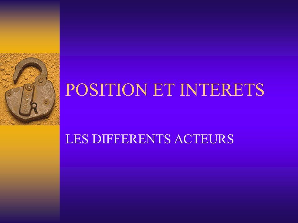 POSITION ET INTERETS LES DIFFERENTS ACTEURS