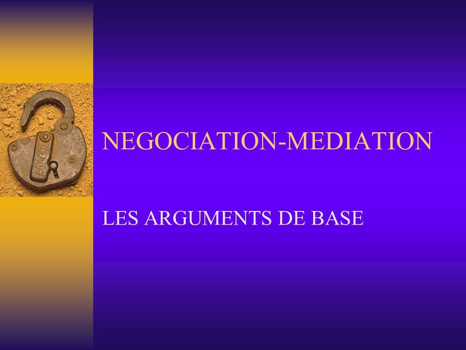 NEGOCIATION-MEDIATION LES ARGUMENTS DE BASE
