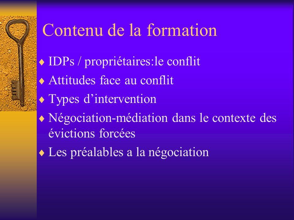 Contenu de la formation IDPs / propriétaires:le conflit Attitudes face au conflit Types dintervention Négociation-médiation dans le contexte des évict