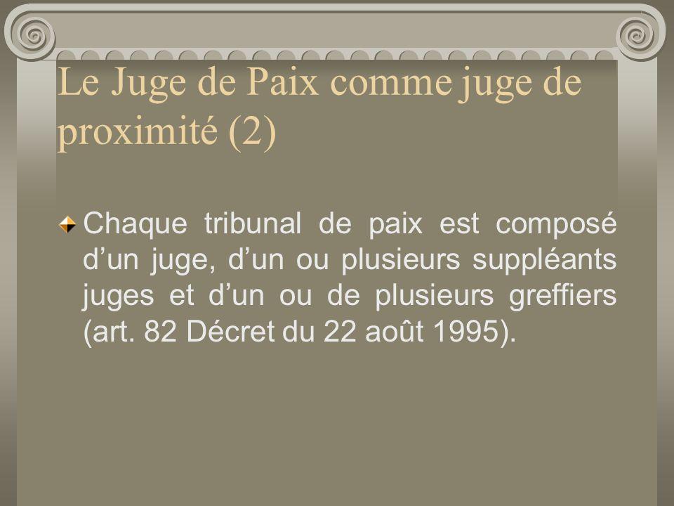Le Juge de Paix comme juge de proximité (2) Chaque tribunal de paix est composé dun juge, dun ou plusieurs suppléants juges et dun ou de plusieurs greffiers (art.
