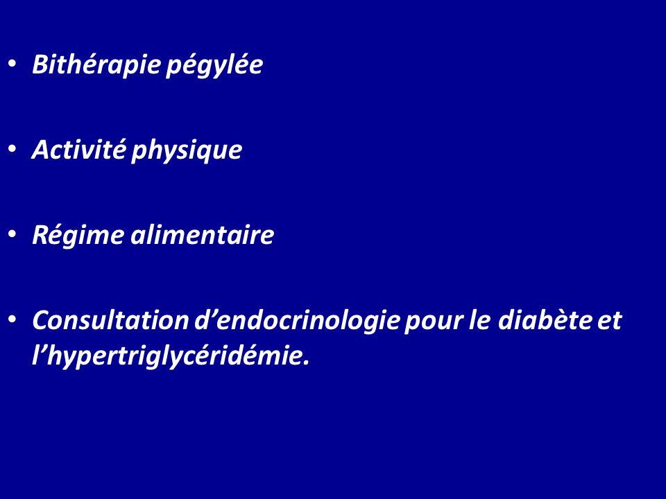 Bithérapie pégylée Activité physique Régime alimentaire Consultation dendocrinologie pour le diabète et lhypertriglycéridémie.