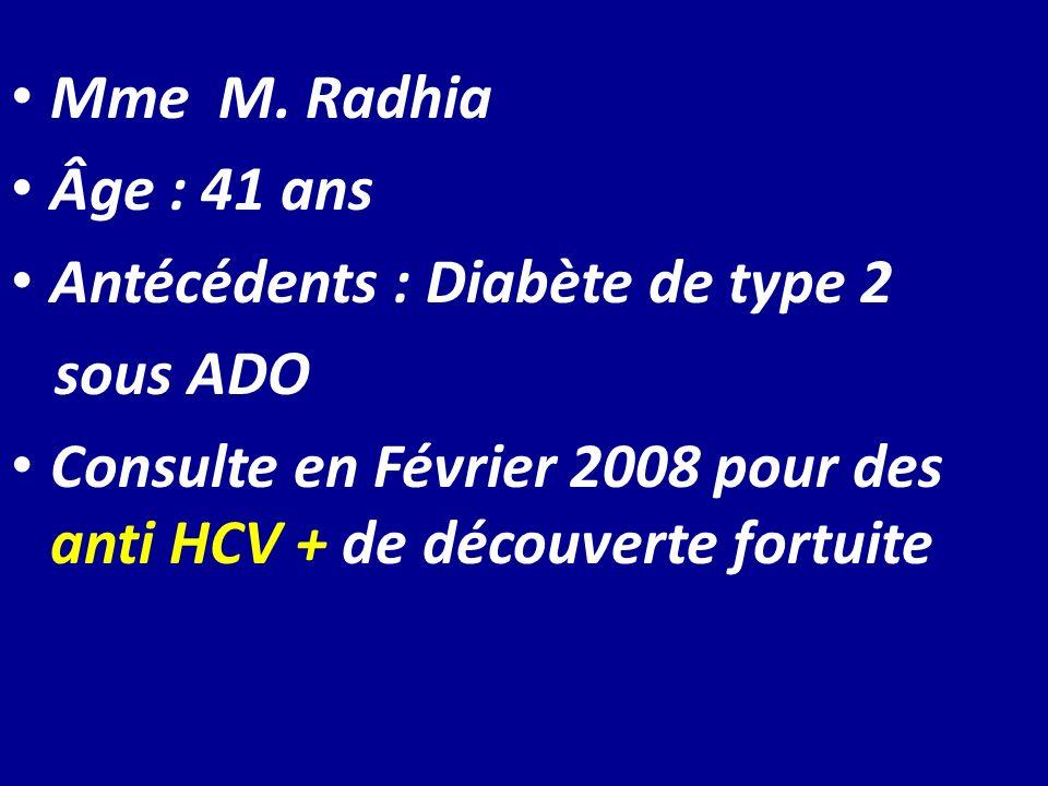 Mme M. Radhia Âge : 41 ans Antécédents : Diabète de type 2 sous ADO Consulte en Février 2008 pour des anti HCV + de découverte fortuite