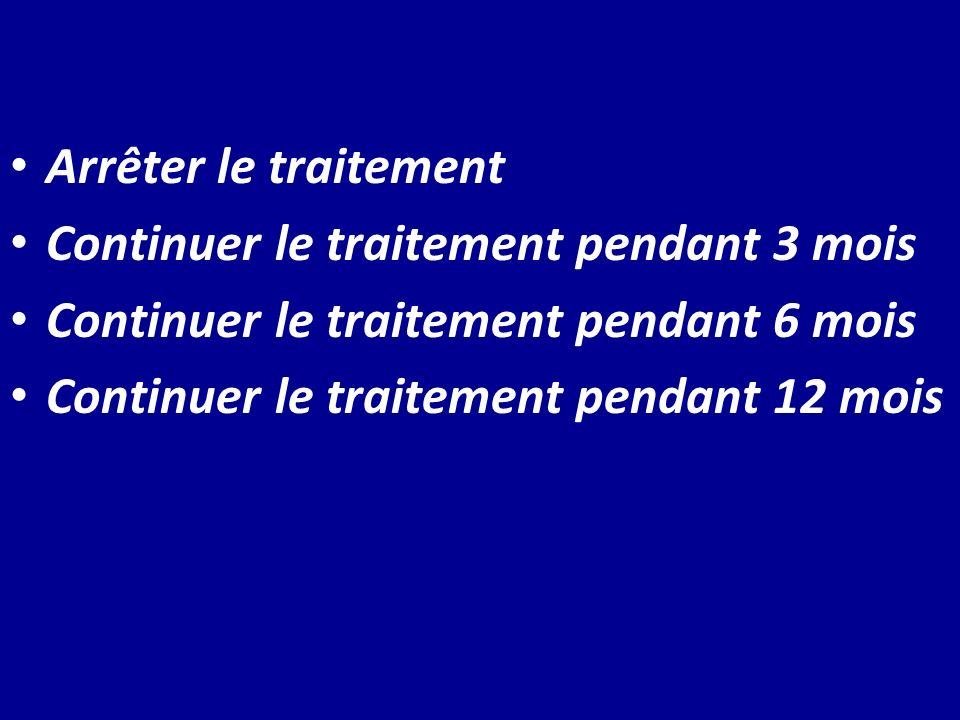 Arrêter le traitement Continuer le traitement pendant 3 mois Continuer le traitement pendant 6 mois Continuer le traitement pendant 12 mois