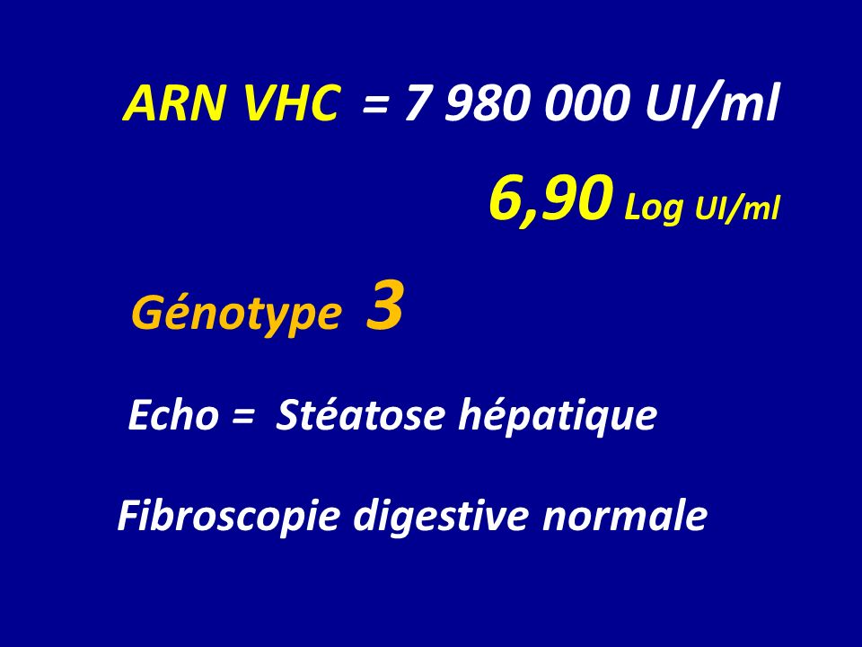 ARN VHC = 7 980 000 UI/ml 6,90 Log UI/ml Génotype 3 Echo = Stéatose hépatique Fibroscopie digestive normale