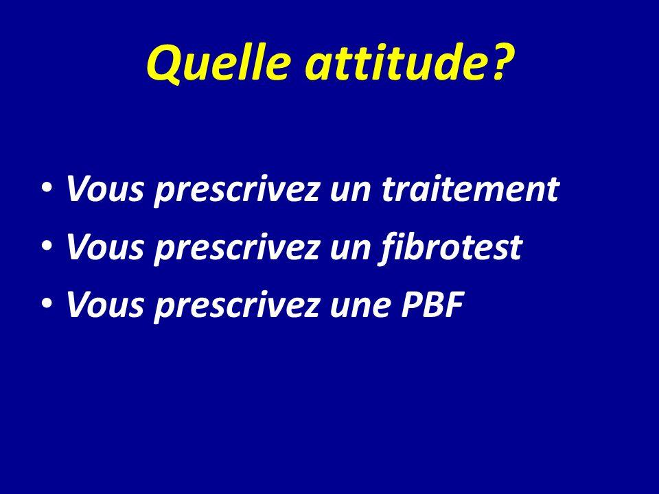 Quelle attitude? Vous prescrivez un traitement Vous prescrivez un fibrotest Vous prescrivez une PBF
