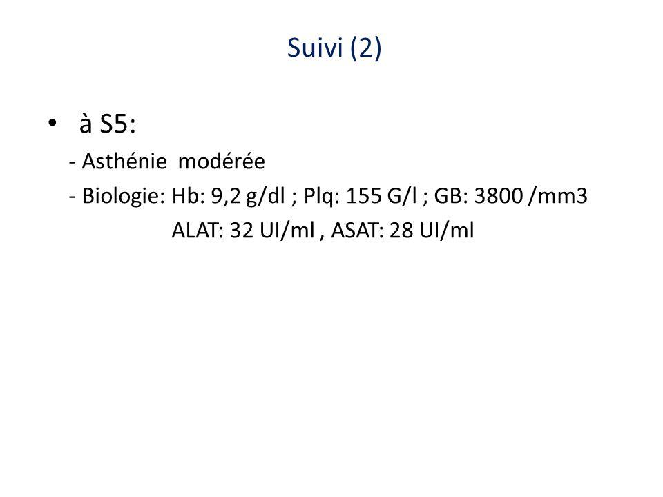 Suivi (2) à S5: - Asthénie modérée - Biologie: Hb: 9,2 g/dl ; Plq: 155 G/l ; GB: 3800 /mm3 ALAT: 32 UI/ml, ASAT: 28 UI/ml