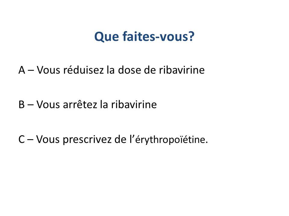 A – Vous réduisez la dose de ribavirine B – Vous arrêtez la ribavirine C – Vous prescrivez de l érythropoïétine. Que faites-vous?