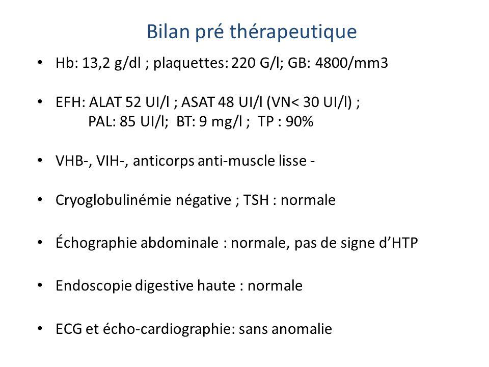 Hb: 13,2 g/dl ; plaquettes: 220 G/l; GB: 4800/mm3 EFH: ALAT 52 UI/l ; ASAT 48 UI/l (VN< 30 UI/l) ; PAL: 85 UI/l; BT: 9 mg/l ; TP : 90% VHB-, VIH-, ant