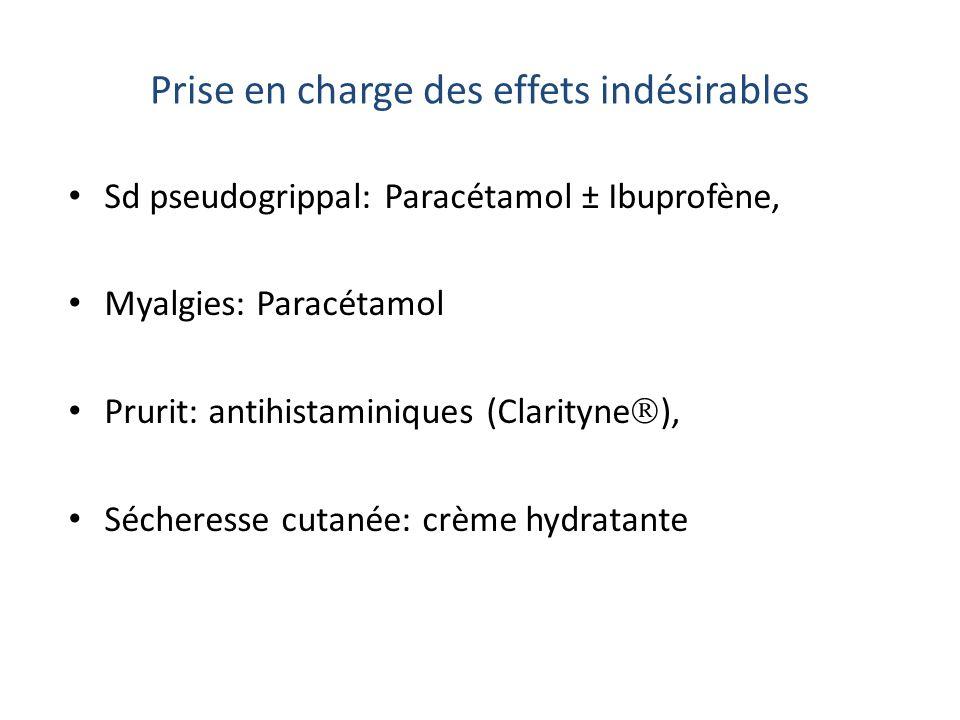 Prise en charge des effets indésirables Sd pseudogrippal: Paracétamol ± Ibuprofène, Myalgies: Paracétamol Prurit: antihistaminiques (Clarityne ), Séch