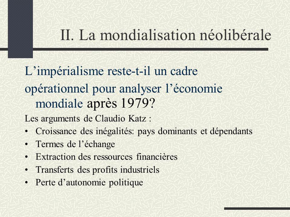 II. La mondialisation néolibérale Limpérialisme reste-t-il un cadre opérationnel pour analyser léconomie mondiale après 1979? Les arguments de Claudio