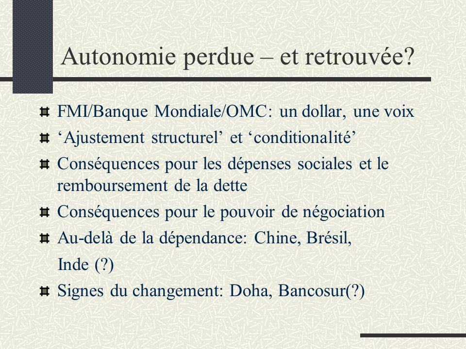 Autonomie perdue – et retrouvée? FMI/Banque Mondiale/OMC: un dollar, une voix Ajustement structurel et conditionalité Conséquences pour les dépenses s