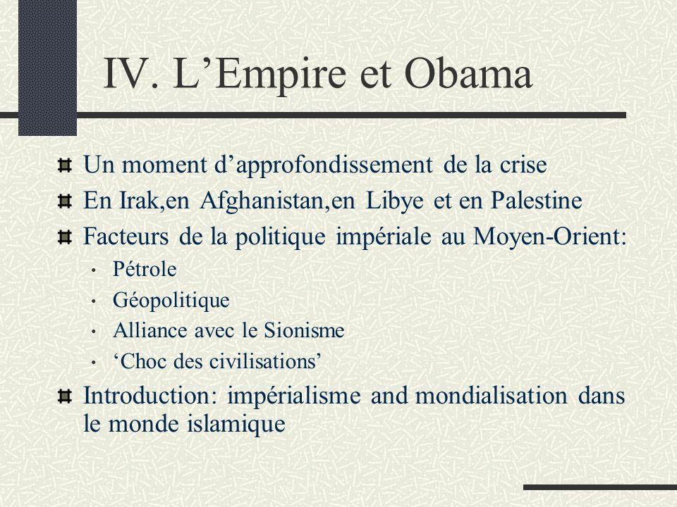 IV. LEmpire et Obama Un moment dapprofondissement de la crise En Irak,en Afghanistan,en Libye et en Palestine Facteurs de la politique impériale au Mo