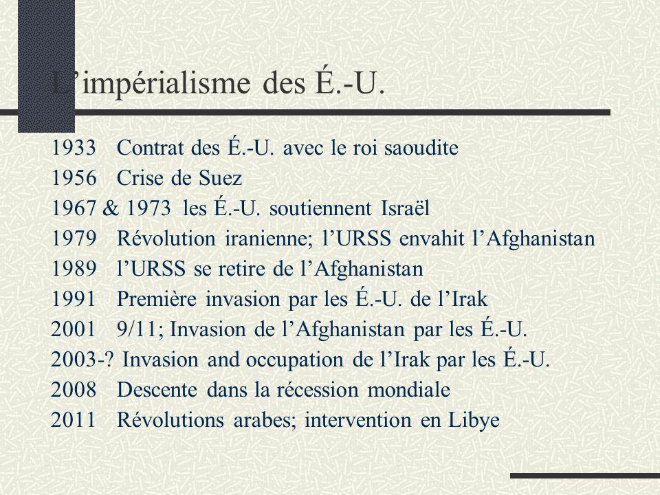 Limpérialisme des É.-U. 1933Contrat des É.-U. avec le roi saoudite 1956Crise de Suez 1967 & 1973 les É.-U. soutiennent Israël 1979Révolution iranienne