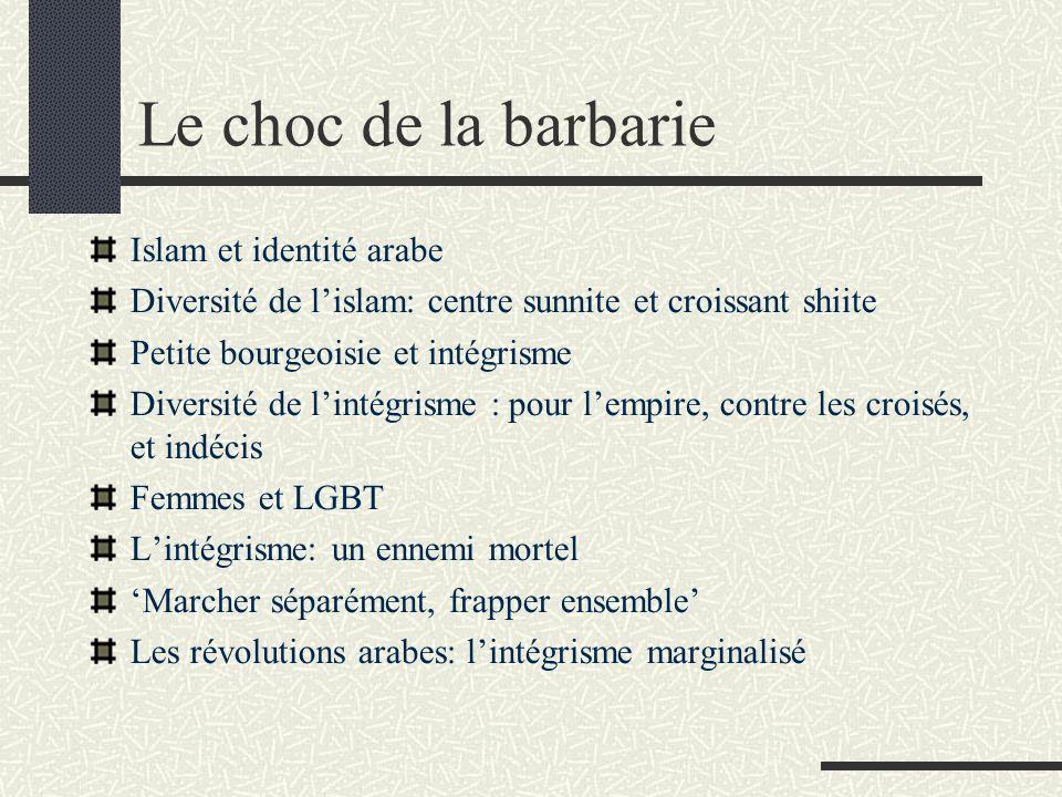 Le choc de la barbarie Islam et identité arabe Diversité de lislam: centre sunnite et croissant shiite Petite bourgeoisie et intégrisme Diversité de l
