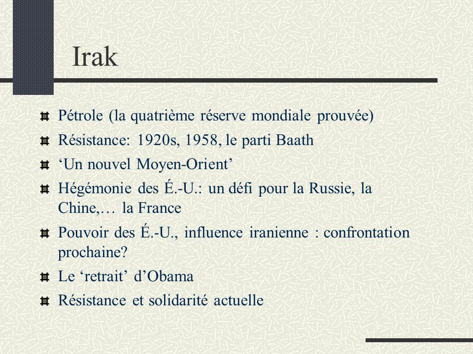 Irak Pétrole (la quatrième réserve mondiale prouvée) Résistance: 1920s, 1958, le parti Baath Un nouvel Moyen-Orient Hégémonie des É.-U.: un défi pour la Russie, la Chine,… la France Pouvoir des É.-U., influence iranienne : confrontation prochaine.