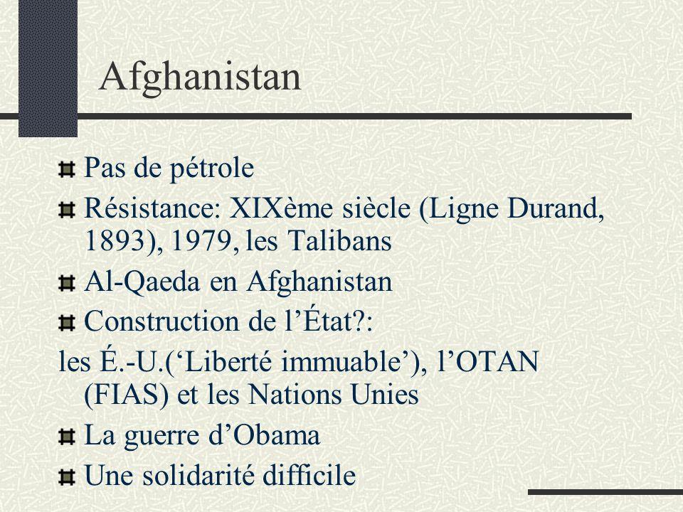 Afghanistan Pas de pétrole Résistance: XIXème siècle (Ligne Durand, 1893), 1979, les Talibans Al-Qaeda en Afghanistan Construction de lÉtat : les É.-U.(Liberté immuable), lOTAN (FIAS) et les Nations Unies La guerre dObama Une solidarité difficile