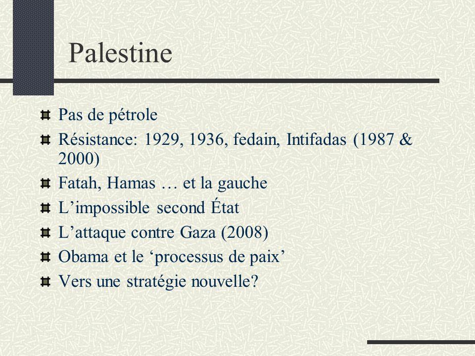 Palestine Pas de pétrole Résistance: 1929, 1936, fedain, Intifadas (1987 & 2000) Fatah, Hamas … et la gauche Limpossible second État Lattaque contre G