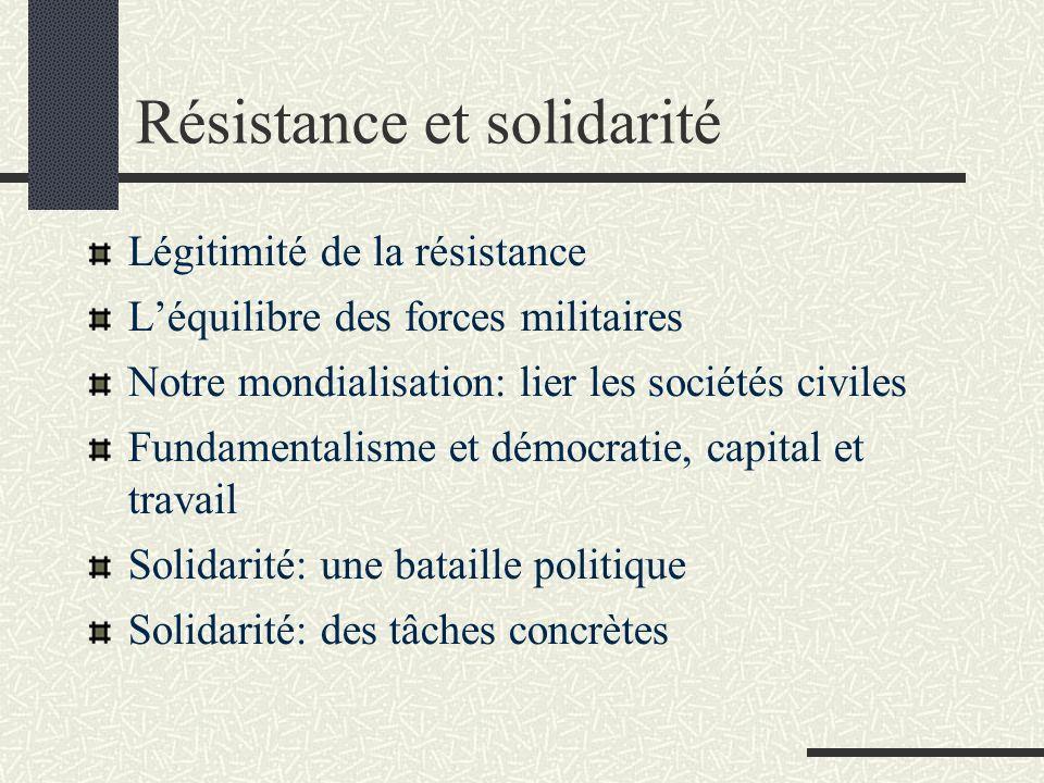 Résistance et solidarité Légitimité de la résistance Léquilibre des forces militaires Notre mondialisation: lier les sociétés civiles Fundamentalisme et démocratie, capital et travail Solidarité: une bataille politique Solidarité: des tâches concrètes