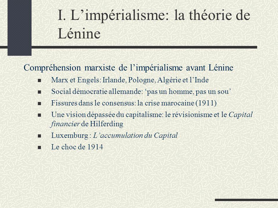 I. Limpérialisme: la théorie de Lénine Compréhension marxiste de limpérialisme avant Lénine Marx et Engels: Irlande, Pologne, Algérie et lInde Social