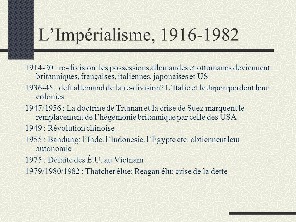 LImpérialisme, 1916-1982 1914-20: re-division: les possessions allemandes et ottomanes deviennent britanniques, françaises, italiennes, japonaises et US 1936-45: défi allemand de la re-division.