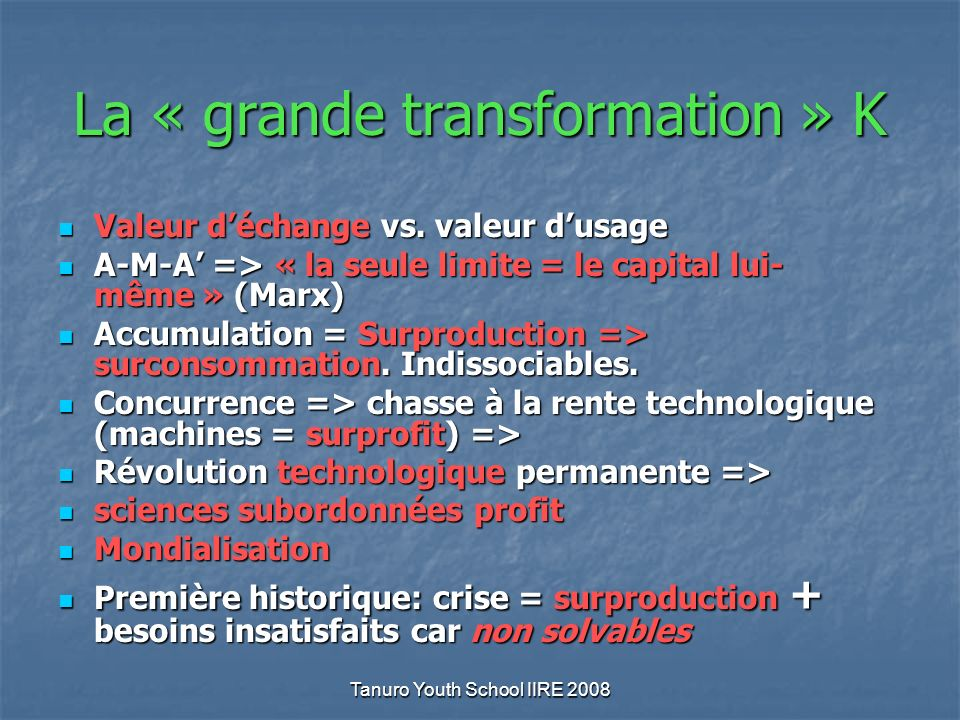 Tanuro Youth School IIRE 2008 La « grande transformation » K Valeur déchange vs.