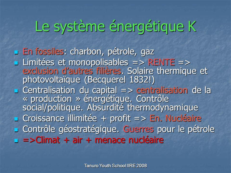 Tanuro Youth School IIRE 2008 Le système énergétique K En fossiles: charbon, pétrole, gaz En fossiles: charbon, pétrole, gaz Limitées et monopolisables => RENTE => exclusion dautres filières.
