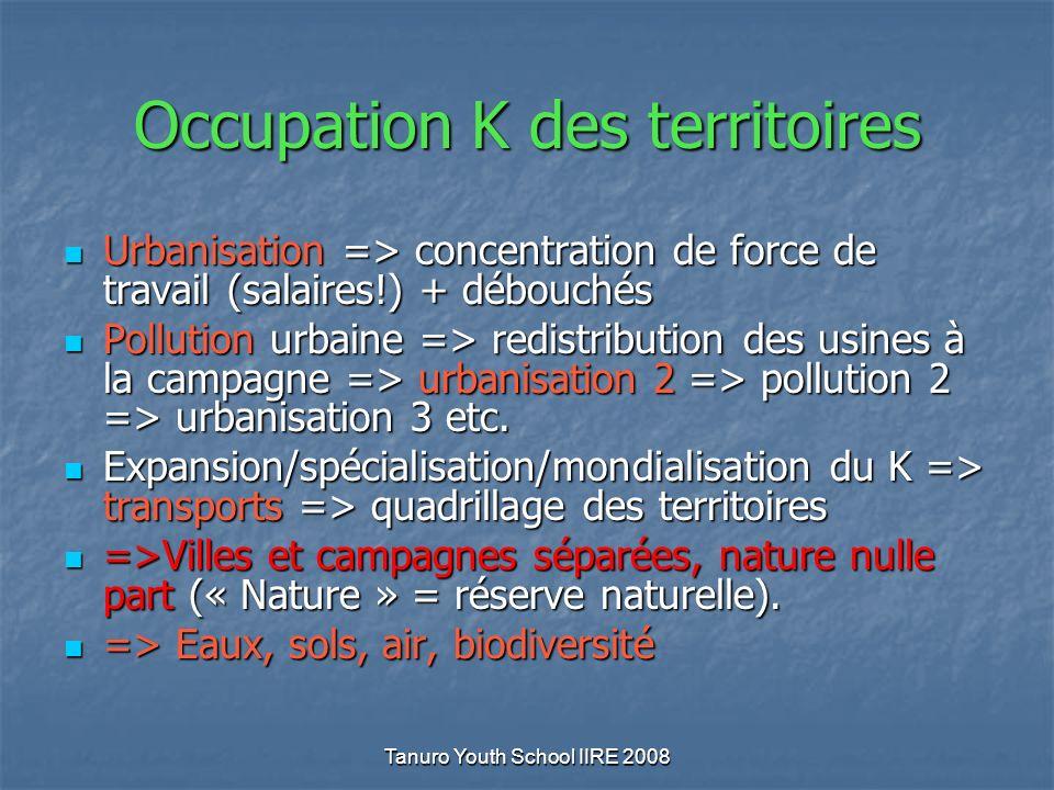 Tanuro Youth School IIRE 2008 Occupation K des territoires Urbanisation => concentration de force de travail (salaires!) + débouchés Urbanisation => concentration de force de travail (salaires!) + débouchés Pollution urbaine => redistribution des usines à la campagne => urbanisation 2 => pollution 2 => urbanisation 3 etc.