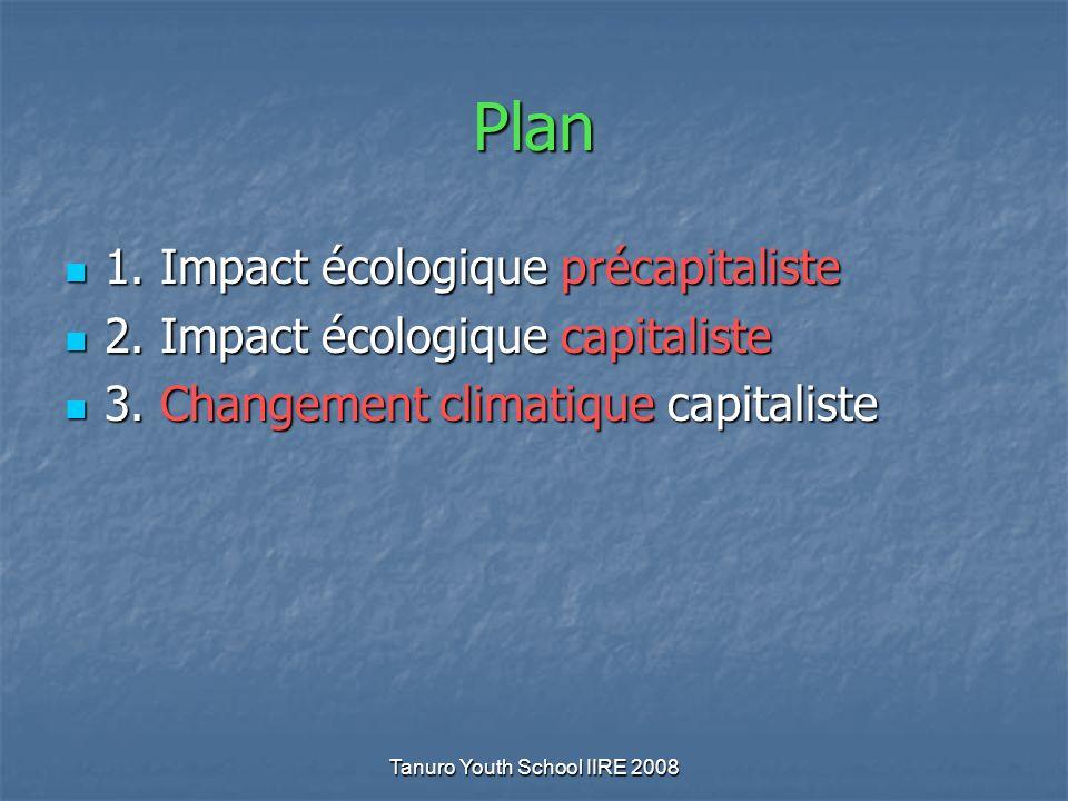 Tanuro Youth School IIRE 2008 Plan 1. Impact écologique précapitaliste 1. Impact écologique précapitaliste 2. Impact écologique capitaliste 2. Impact