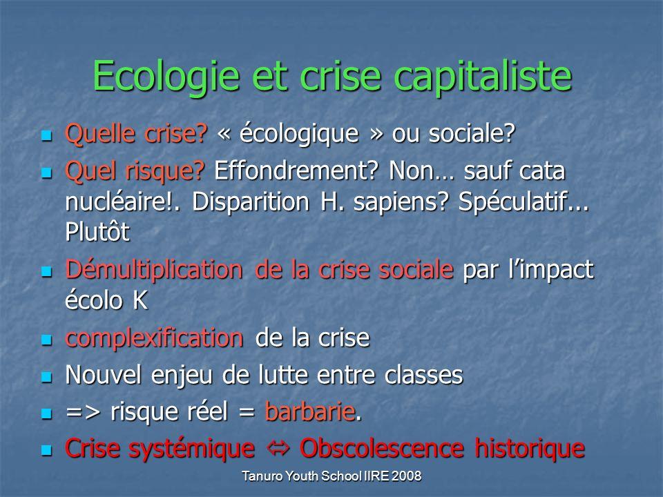 Ecologie et crise capitaliste Quelle crise. « écologique » ou sociale.