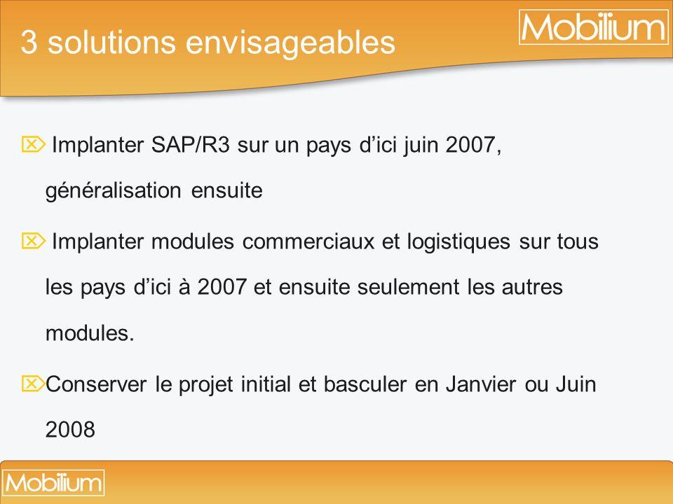 3 solutions envisageables Implanter SAP/R3 sur un pays dici juin 2007, généralisation ensuite Implanter modules commerciaux et logistiques sur tous le
