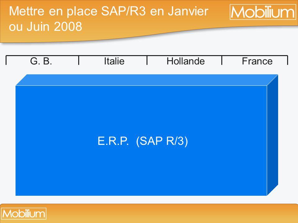 Mettre en place SAP/R3 en Janvier ou Juin 2008 G. B.ItalieHollandeFrance E.R.P. (SAP R/3)