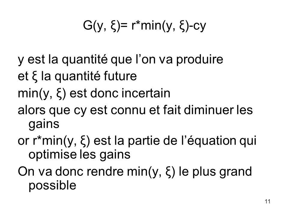 11 G(y, ξ)= r*min(y, ξ)-cy y est la quantité que lon va produire et ξ la quantité future min(y, ξ) est donc incertain alors que cy est connu et fait d