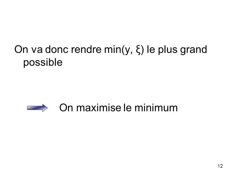 12 On va donc rendre min(y, ξ) le plus grand possible On maximise le minimum
