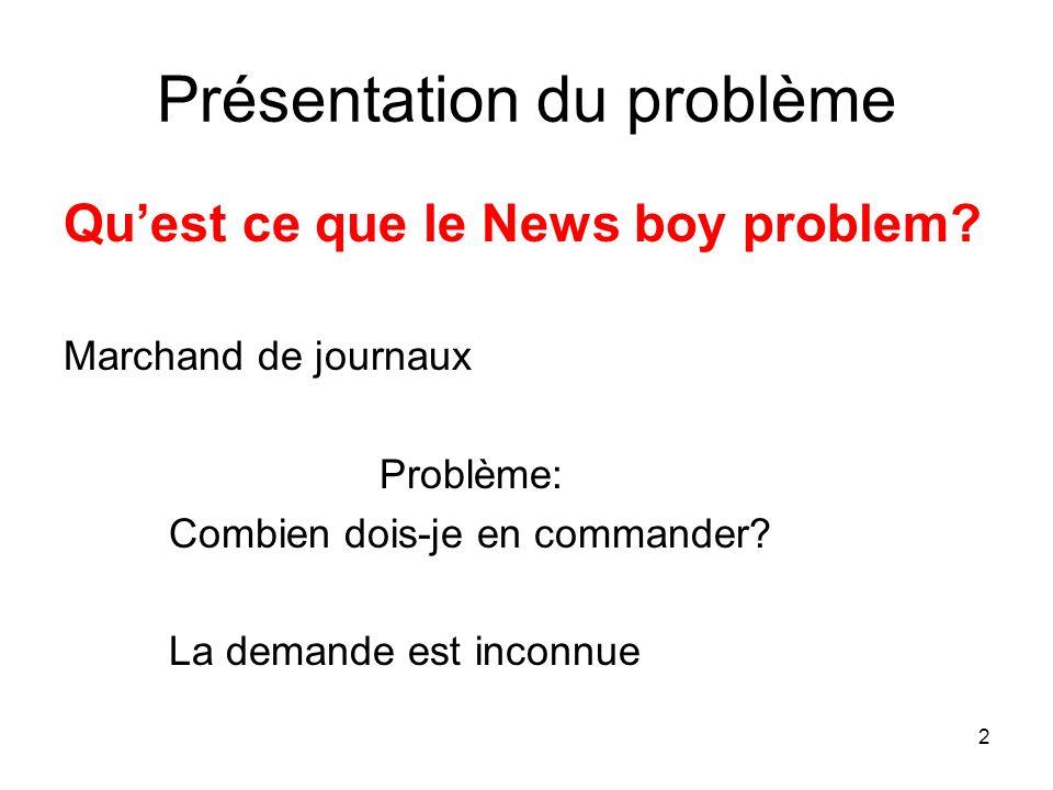 2 Présentation du problème Quest ce que le News boy problem? Marchand de journaux Problème: Combien dois-je en commander? La demande est inconnue
