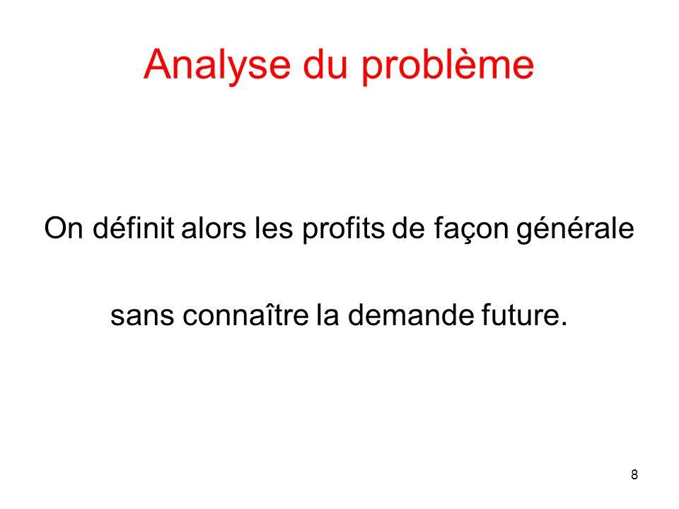 8 Analyse du problème On définit alors les profits de façon générale sans connaître la demande future.