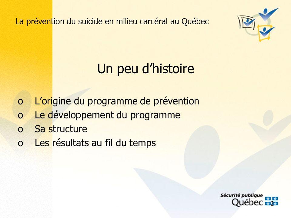 3 La prévention du suicide en milieu carcéral au Québec Aujourdhui oLorganisation actuelle oLe dépistage systématique à ladmission oLes résultats oPerspectives