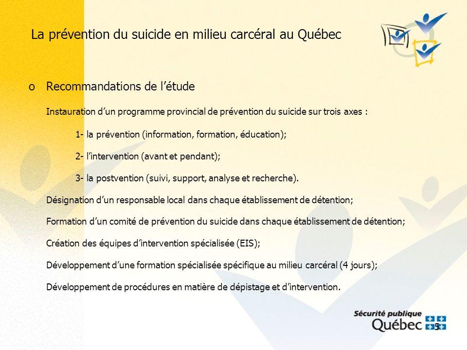 16 La prévention du suicide en milieu carcéral au Québec Les résultats Admissions Décès par suicide 2008 62 5113 2009 63 9474 2010 49 8001