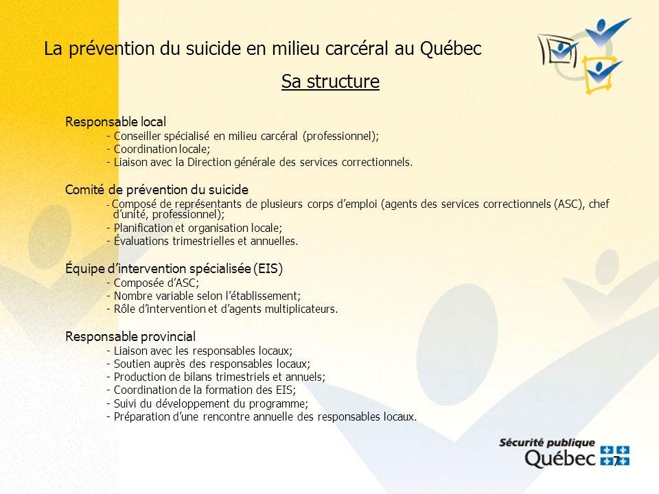 8 La prévention du suicide en milieu carcéral au Québec Critères de filtrage pour la prévention du suicide en milieu carcéral