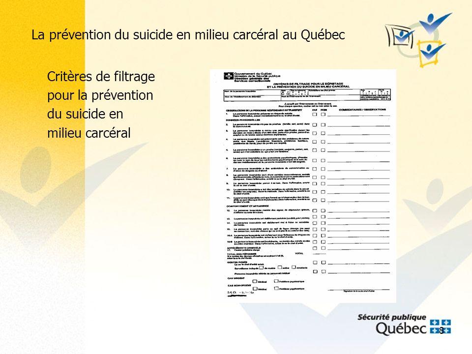 9 La prévention du suicide en milieu carcéral au Québec Grille dévaluation du risque suicidaire en milieu carcéral