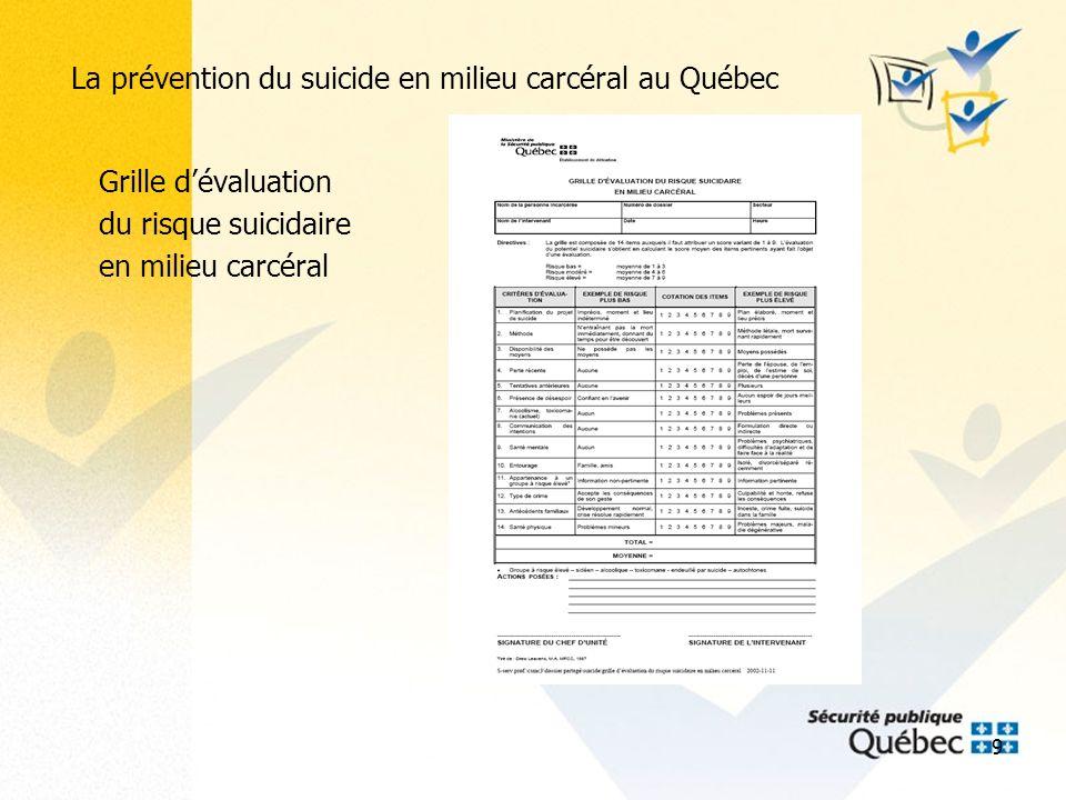 10 La prévention du suicide en milieu carcéral au Québec Les résultats au fil du temps Nombre de décès par suicide dans les établissements de détention provinciaux (1997-2007) selon le statut.