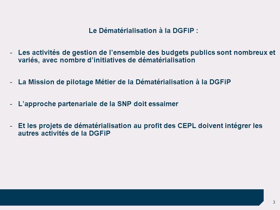 3 Le Dématérialisation à la DGFiP : -Les activités de gestion de lensemble des budgets publics sont nombreux et variés, avec nombre dinitiatives de dé