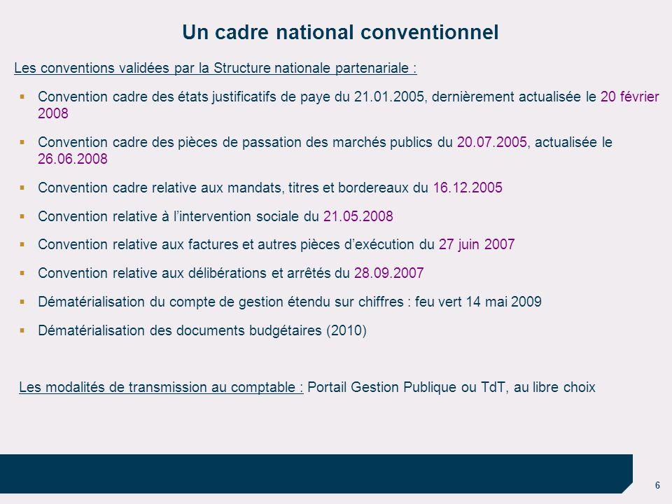 6 Un cadre national conventionnel Les conventions validées par la Structure nationale partenariale : Convention cadre des états justificatifs de paye
