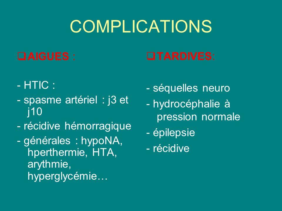 COMPLICATIONS AIGUES : - HTIC : - spasme artériel : j3 et j10 - récidive hémorragique - générales : hypoNA, hperthermie, HTA, arythmie, hyperglycémie…