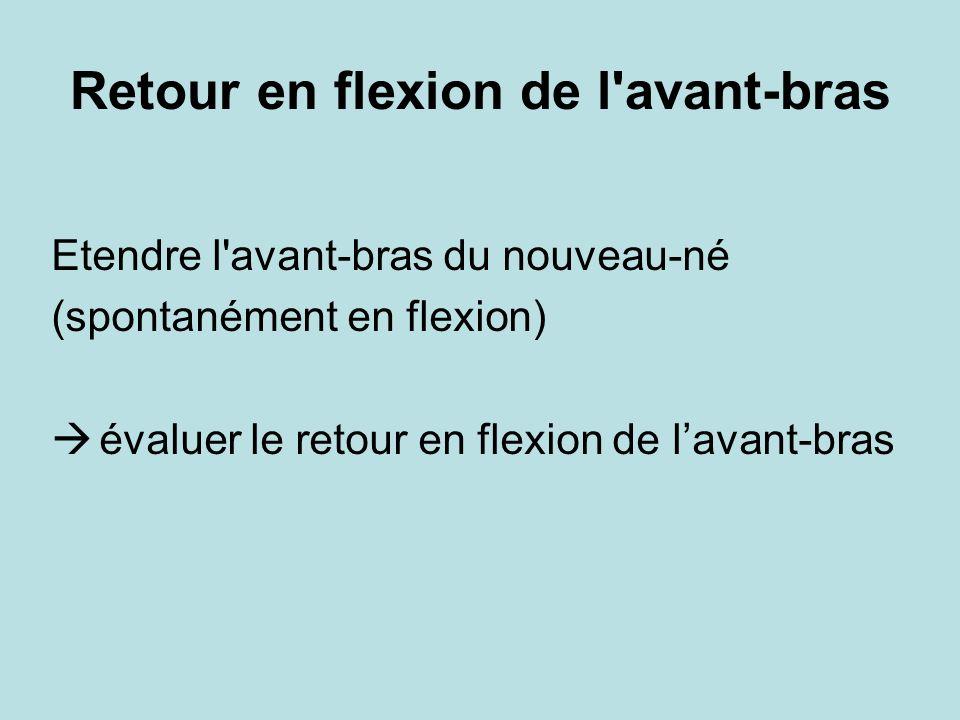 Retour en flexion de l'avant-bras Etendre l'avant-bras du nouveau-né (spontanément en flexion) évaluer le retour en flexion de lavant-bras