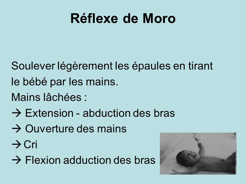 Réflexe de Moro Soulever légèrement les épaules en tirant le bébé par les mains. Mains lâchées : Extension - abduction des bras Ouverture des mains Cr