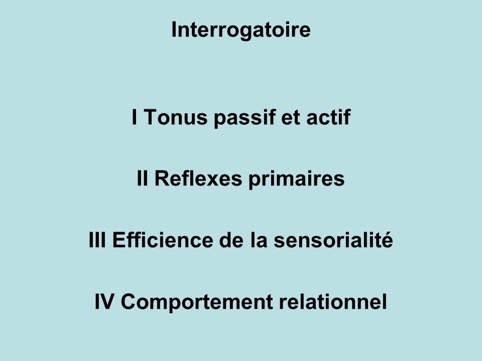 Interrogatoire I Tonus passif et actif II Reflexes primaires III Efficience de la sensorialité IV Comportement relationnel