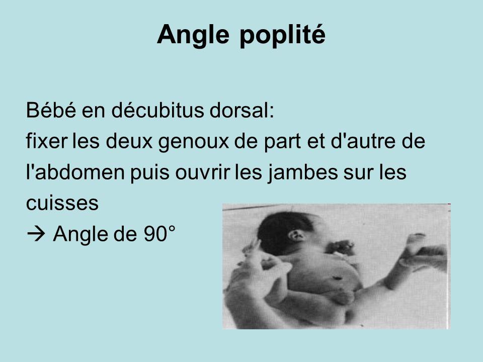 Angle poplité Bébé en décubitus dorsal: fixer les deux genoux de part et d'autre de l'abdomen puis ouvrir les jambes sur les cuisses Angle de 90°