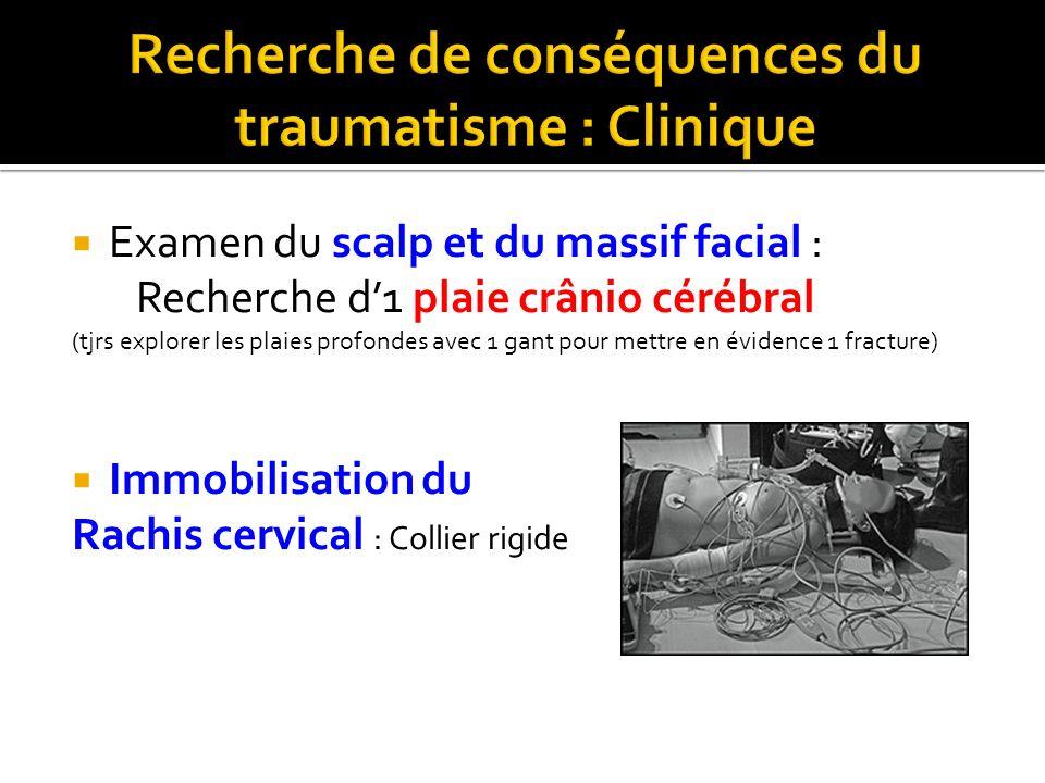 Examen du scalp et du massif facial : Recherche d1 plaie crânio cérébral (tjrs explorer les plaies profondes avec 1 gant pour mettre en évidence 1 fra