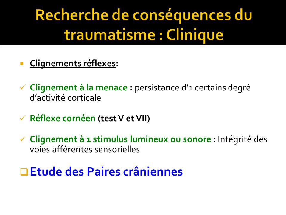 Clignements réflexes: Clignement à la menace : persistance d1 certains degré dactivité corticale Réflexe cornéen (test V et VII) Clignement à 1 stimul
