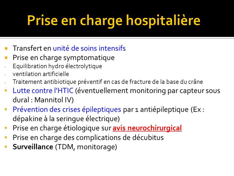 Transfert en unité de soins intensifs Prise en charge symptomatique - Equilibration hydro électrolytique - ventilation artificielle - Traitement antib